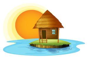 Uma ilha com uma cabana de nipa vetor