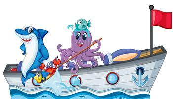 Criaturas do mar andando em um barco com bandeira vetor