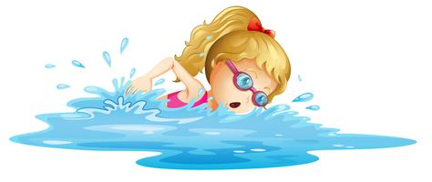 Um, menina jovem, natação vetor