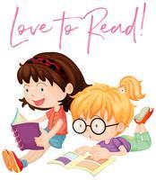 Duas meninas, leitura, livros vetor