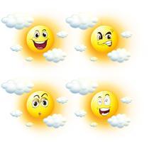 Sol com diferentes expressões faciais vetor