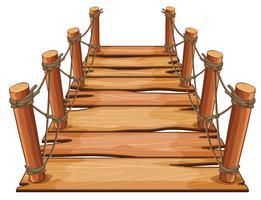 Ponte de madeira com corda anexada vetor