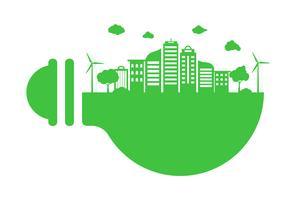 Salvar o conceito do mundo do planeta da terra. Conceito de dia do meio ambiente. cidade urbana moderna verde na lâmpada verde, segura o mundo, o conceito de ecologia vetor