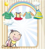 Um, menina bebê, com, roupas penduradas vetor