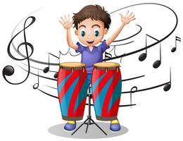 Menino tocando tambor com notas musicais no fundo vetor
