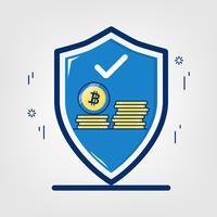 Criptomoeda com tecnologia de rede blockchain. Conceito de bitcoin de segurança. vetor
