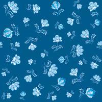 Redemoinho-padrão floral sem emenda. Flourish decorativo no estilo russian sobre o fundo azul. vetor