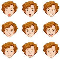 Homem, com, diferente, expressões, ligado, seu, rosto vetor