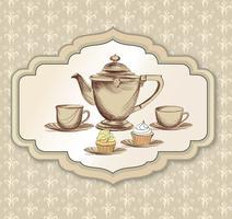 Xícara de chá, cartão retrô de chaleira. Fundo vintage de hora do chá. Bebidas quentes