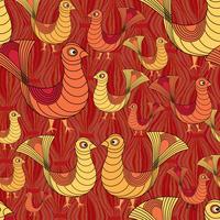 padrão de pássaro. padrão de ave de fazenda. Ornamento de gado. vetor