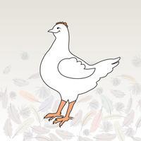 ilustração feliz da galinha do pássaro da exploração agrícola. Ícone de gado