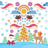Ícones de natal. Fundo feliz feriado de inverno. Elementos de design ornamentais.