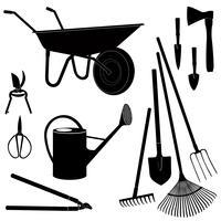 Ferramentas de jardinagem isoladas. Conjunto de silhueta de equipamento de jardim.