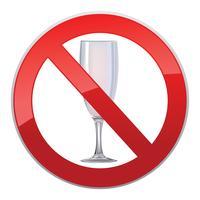 Nenhum sinal de bebida de álcool. Ícone de proibição. Ban licor rótulo vetor
