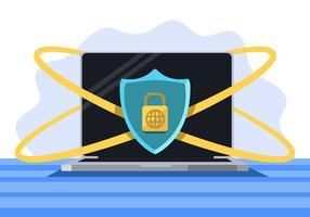 Segurança cibernética e laptop vetor