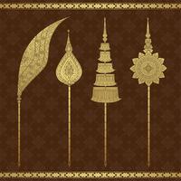 Templo de luxo de arte tailandesa e ilustração em vetor padrão fundo