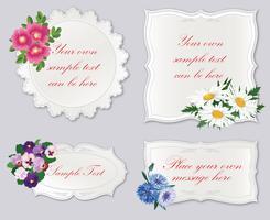 Conjunto de quadro bonito com flores. Fundo de fronteira de cartão floral férias vetor