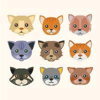 Coleção de rostos de gato engraçado bonito vetor