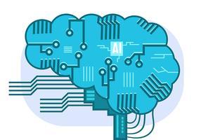 Cérebro de Inteligência Artificial vetor