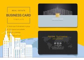 Modelo de design de cartão de nome comercial de imóveis. vetor