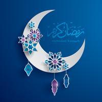 Gráfico de papel da lua crescente islâmica