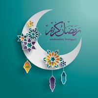 Gráfico de papel da lua crescente islâmica vetor