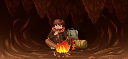 Homem, prendido, em, caverna vetor