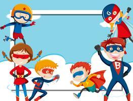 Modelo de quadro super-herói vetor