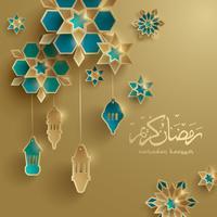 cartão gráfico de papel de ramadan