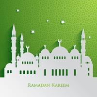 Gráfico de papel da mesquita islâmica vetor