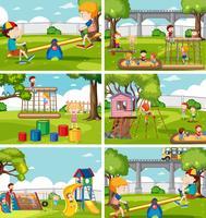 Crianças, em, jogo playground vetor