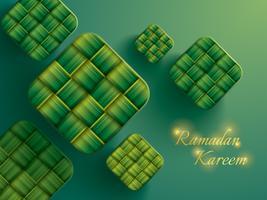 Gráfico de papel de ketupat (bolinho de arroz). vetor