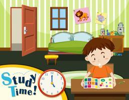 Menino jovem, tempo estudo vetor