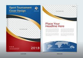 Modelo de design de livro de capa com espaço para evento esportivo.
