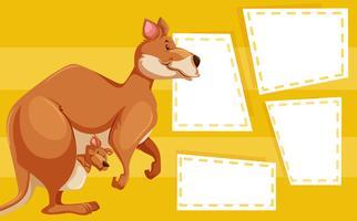 Um canguru na nota em branco vetor