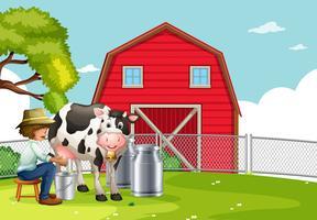 Um, agricultor, leite ordenhando vetor