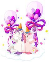 Unicórnio fofo segurando balão de aniversário vetor