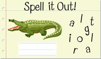 Soletrar Inglês palavra crocodilo vetor