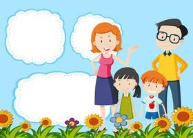 Família no modelo de nota vetor