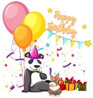 feliz aniversario panda cartão vetor