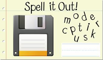 Soletrar Inglês disco de computador palavra vetor