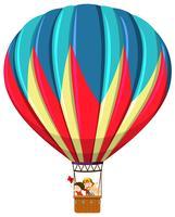 Crianças, montando, balão ar quente vetor