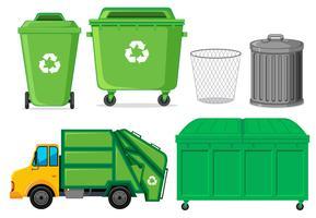 Conjunto de recipiente de resíduos vetor