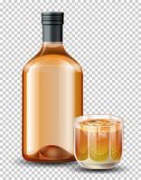 Garrafa e copo de uísque vetor