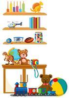Brinquedo das crianças na prateleira vetor