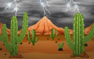 Cacto na tempestade vetor