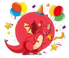 Um dragão no modelo de festa vetor