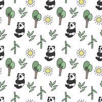 Padrão sem emenda de panda bonito vetor