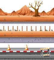 Conjunto de estrada deserta vetor