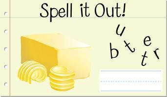 Soletrar palavra inglesa manteiga vetor